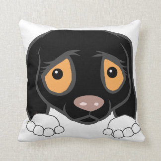 german shorthaired pointer black and white peeking cushion
