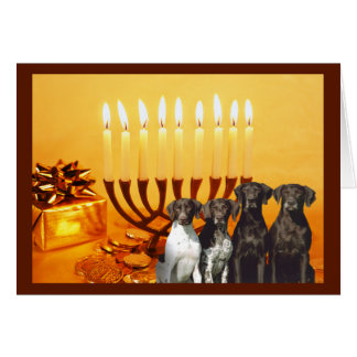 German Shorthaired Pointer Chanukah Card Menorah2