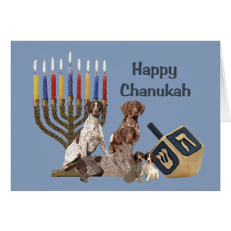 German Shorthaired Pointer Chanukah Card Menorah 2