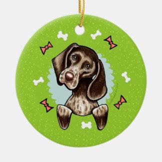 German Shorthaired Pointer Christmas Wreath Ceramic Ornament