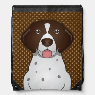 German Shorthaired Pointer Dog Cartoon Paws Drawstring Bag