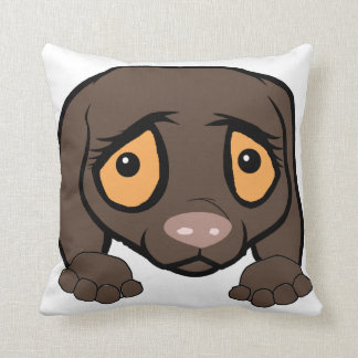german shorthaired pointer liver peeking cushion