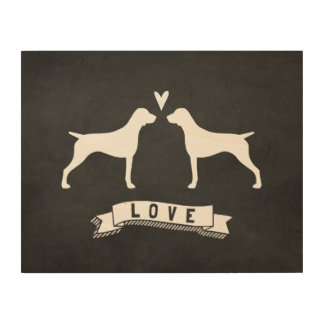 German Shorthaired Pointer Silhouettes Love Wood Wall Art