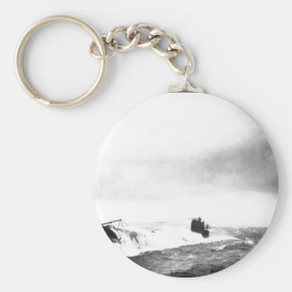 German Submarine in rough seas_War Image Basic Round Button Key Ring