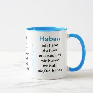German verbs teach and learn mug