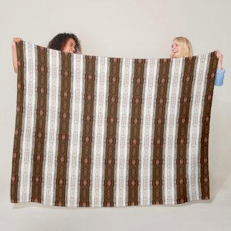 German Vintage Brown Stripe Satin Pattern Fleece Blanket