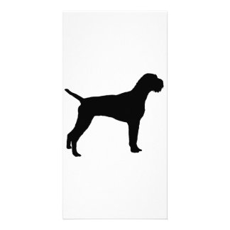 German wire-haired Pointer dog Silhouette Picture Card