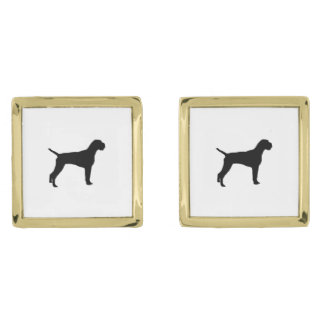 German Wire-Haired Pointer Silhouette Love Dogs Gold Finish Cufflinks
