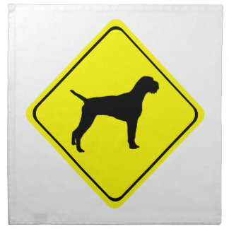 German Wire-Haired Pointer Warning Sign Love Dogs Printed Napkin