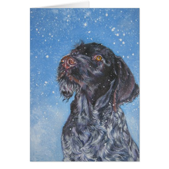 German Wirehaired pointer Christmas Card