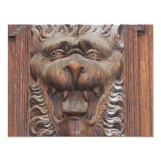 German WOOD CARVING - LION Medieval architecture 11 Cm X 14 Cm Invitation Card