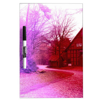 german wooden town house in forest red tint dry erase board