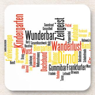 German Word Cloud - Deutsche Wortwolke Beverage Coasters