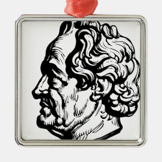 German writer Goethe Silver-Colored Square Decoration