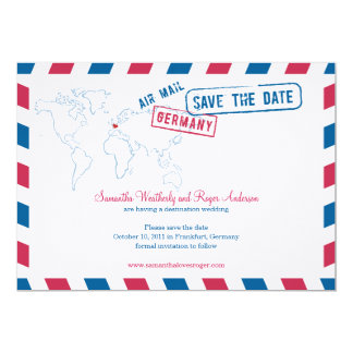 Germany Air Mail Wedding Save The Date 13 Cm X 18 Cm Invitation Card