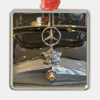 Germany, Baden-Wurttemberg, Stuttgart. Mercedes Silver-Colored Square Decoration
