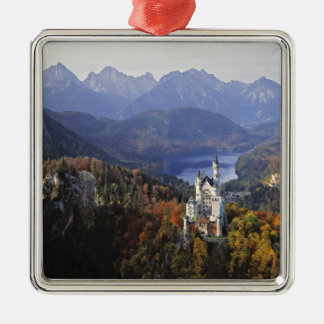 Germany, Bavaria, Neuschwanstein Castle. King Silver-Colored Square Decoration