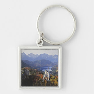 Germany, Bavaria, Neuschwanstein Castle. King Silver-Colored Square Key Ring