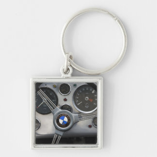 Germany, Bayern-Bavaria, Munich. BMW Welt Car Silver-Colored Square Key Ring