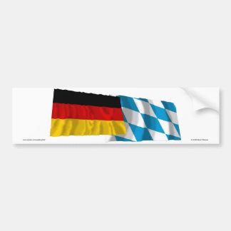 Germany & Bayern Waving Flags (Bavaria) Bumper Sticker
