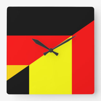 germany belgium half flag country symbol square wall clock