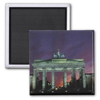 Germany, Berlin. Brandenburg Gate at night. Square Magnet