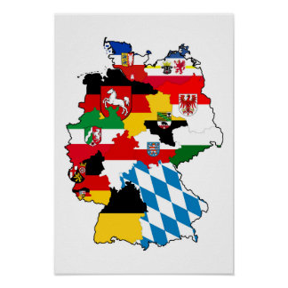 germany country political flag map region province poster