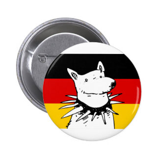 germany flag and white dog with spike collar 6 cm round badge