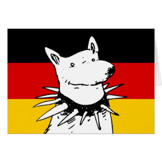 germany flag and white dog with spike collar card