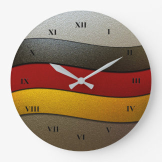 Germany Flag Colors-Chrome by Shirley Taylor Large Clock