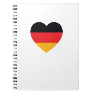 Germany Flag Heart Spiral Notebook