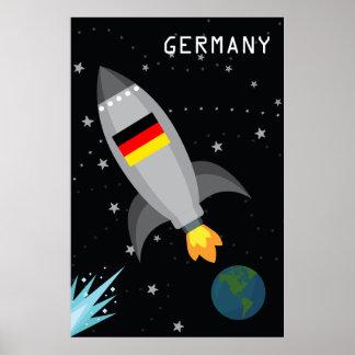 Germany Flag Rocket Ship Poster