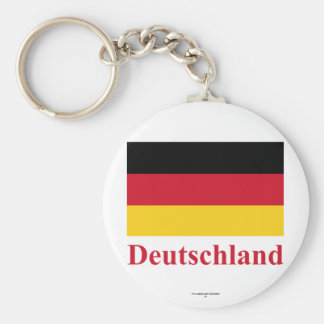 Germany Flag with Name in German Basic Round Button Key Ring