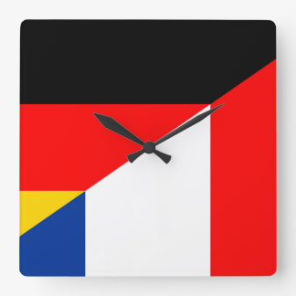germany france flag country half symbol square wall clock