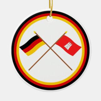 Germany & Hamburg Crossed Flags Ceramic Ornament