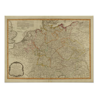 Germany hand oclored atlas map poster