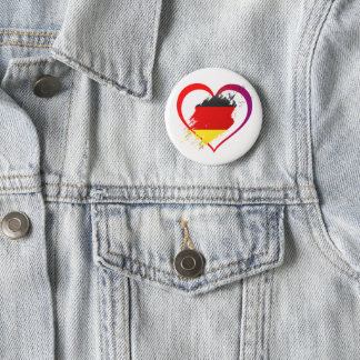 Germany heart 6 cm round badge