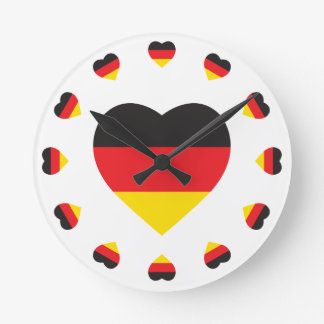 GERMANY HEART SHAPE FLAG ROUND CLOCK