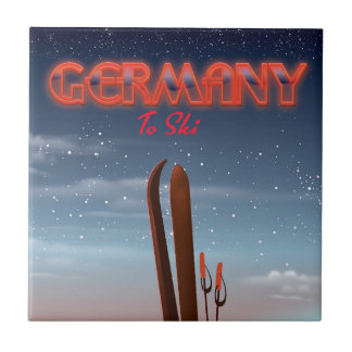 Germany Ice Ski travel poster Tile