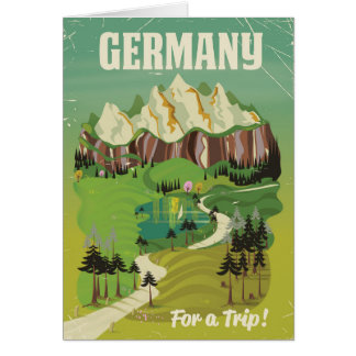 Germany vintage style travel poster card
