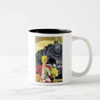 Germany Wants to See You Vintage Travel Poster Two-Tone Mug