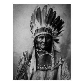 Geronimo in Head Dress Postcard