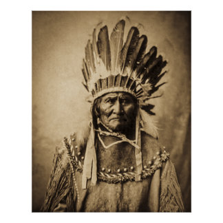 Geronimo in Head Dress Poster