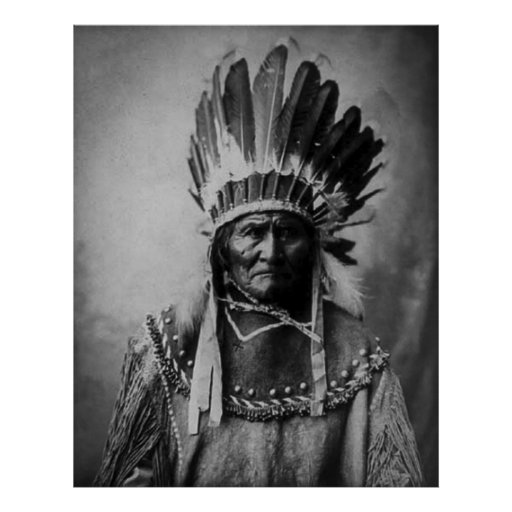 Geronimo in Head Dress Print