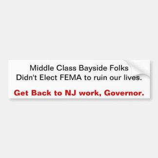 Get Back to NJ work, Governor Bumper Sticker