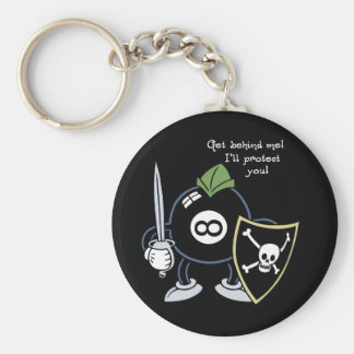 Get Behind the 8-Ball! Basic Round Button Key Ring