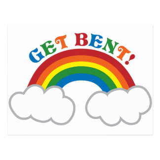 GET BENT! with cute rainbow Postcard