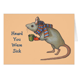 Get Better Soon: Mouse With Scarf: Freehand Art Card