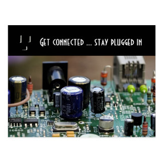 Get connected... stay plugged in postcard