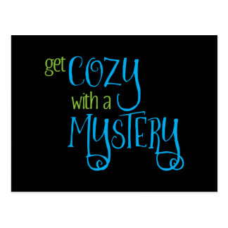 Get Cozy with a Mystery (blue and green) Postcard